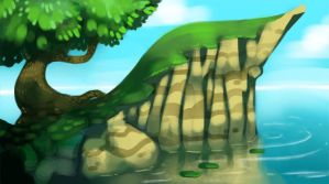 shady cliff by ThermalFaerie