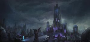Zera and the city of endless night conceptpainting by Tryingtofly