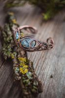 Copper bracelet with crystals by UrsulaJewelry
