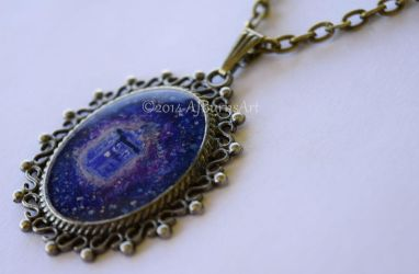 Dr. Who Tardis Necklace by AJBurnsArt