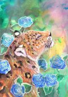Leopard With Blue Roses by dawndelver