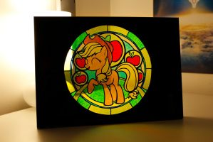 Applejack Stained Glass on my Desk by snip-it