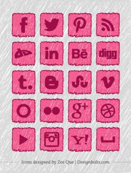 Handmade Social Media Icons by Designbolts