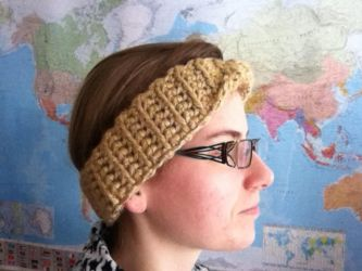 A warm golden Moebius head band by Bee047