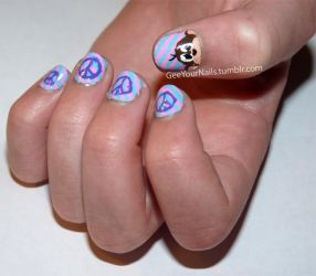 Misc. - monkey and peace sign nail art by ShiversTheNinja
