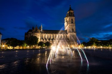 Magdeburg cathedral at night by Sockrattes