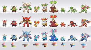 6th Gen Starter Pokemon Palette Swaps