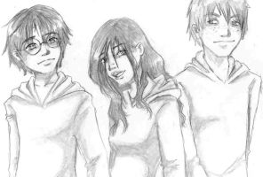 Harry, Hermion and Ron by Mmystery