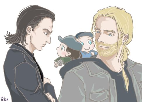 Thor and Loki and Baby Steve and Bucky by SilasSamle