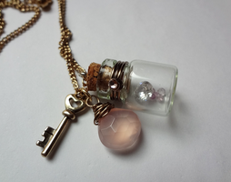 Bottle Beauty Necklace - I love you by WaterGleam