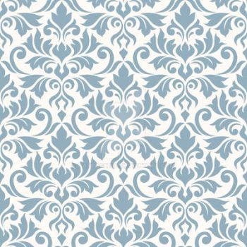 Flourish Damask Ptn Blue on Cream by NatPaskell