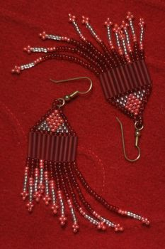cherry red dangle earrings by driventodesign