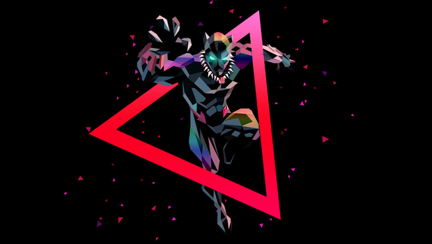 Low Poly Art - Black Panther Full Action by giftmones