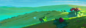 Bulbasaur's family at dawn by EdCtjr
