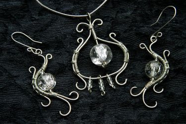Wire wrapped silver set by cnv