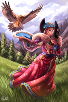 Ladakh Woman with Dangerous Vulture by Yseulta