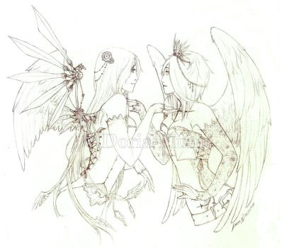 :Lineart: - The Winged Ones - by Doria-Plume