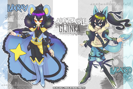 Gijinka Adopt: Luxray and Lucario [closed] by amepan