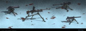 Tripod Machine Guns color by strickart