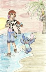 At the Beach with Stitch by hopelessromantic721