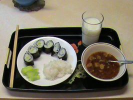 Cucumber Sushi and Miso Soup by Gingitsune-Lady-Fox