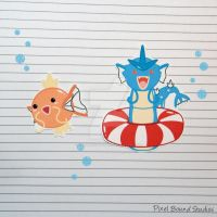 Magikarp/Gyarados Stickers and Magnets by pixelboundstudios