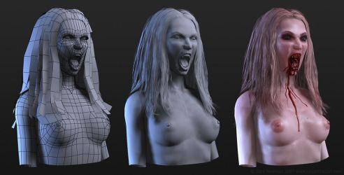 Female Vampire Bust Wireframe by screenlicker