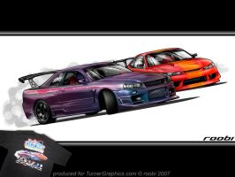 Skyline vs. Silvia drift toon by roobi