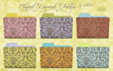 elegant damask folders by seven4soul