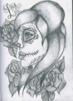 Day of The Dead Skull Girl by 12KathyLees12