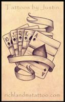 Royal Flush Tattoo Design by jacksonmstattoo