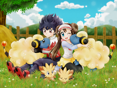 Rosa and Hugh in Floccesy Ranch by chikorita85
