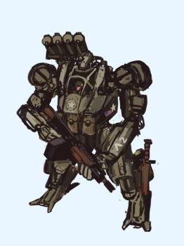 Downfall - Curtis M6 armored suit sketch by TheDrowningEarth