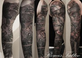 warrior sleeve tattoo by Remistattoo