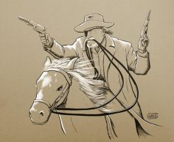 Rooster Cogburn on horseback by SethWolfshorndl
