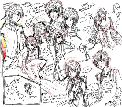 Hunger Games: Sketch dump by fortykoubuns