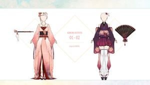 [Auction CLOSED] Kimono Outfits No.01-02 by Lomenel