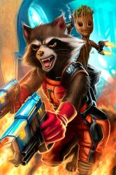 Rocket and Groot  by Nazuroth