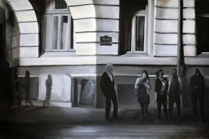 Waiting at the stop sign, 2012, 120-80cm, oil by oanaunciuleanu