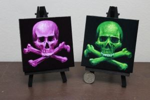 Neon Skull and Crossbones by crazycolleeny
