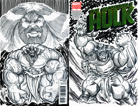 The Incredible HULK Variant Cover (inked) by Tim-Dzon