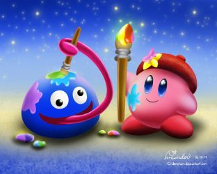 Kirby and Gooey by CinderChar