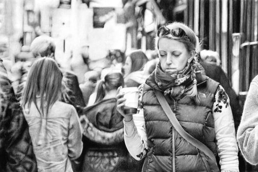 Woman wearing scarf with coffee on The Shambles by AlexFleming