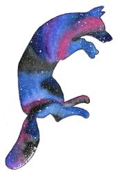 Watercolor Galaxy Fox - Double Exposure by PsyckoStinaMuffin