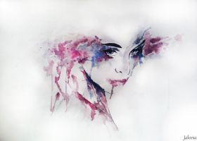 Watercolor painting - Demure by Bealx