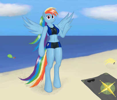Rainbow Dash at the beach by FunkyBacon