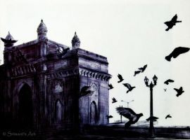Gateway of India - Ballpoint Pen by srimant
