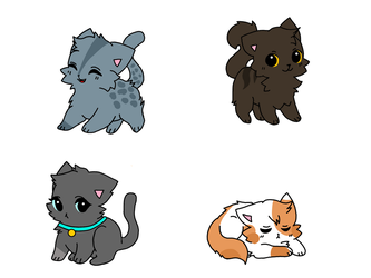 Warrior Cat adoptables(CLOSED) by Feathermist328