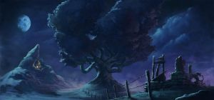 Lonely Hill, Gnarled Oak, and Charred Foundation by Quigleyer