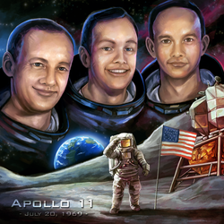 Apollo 11 Tribute Painting by charfade